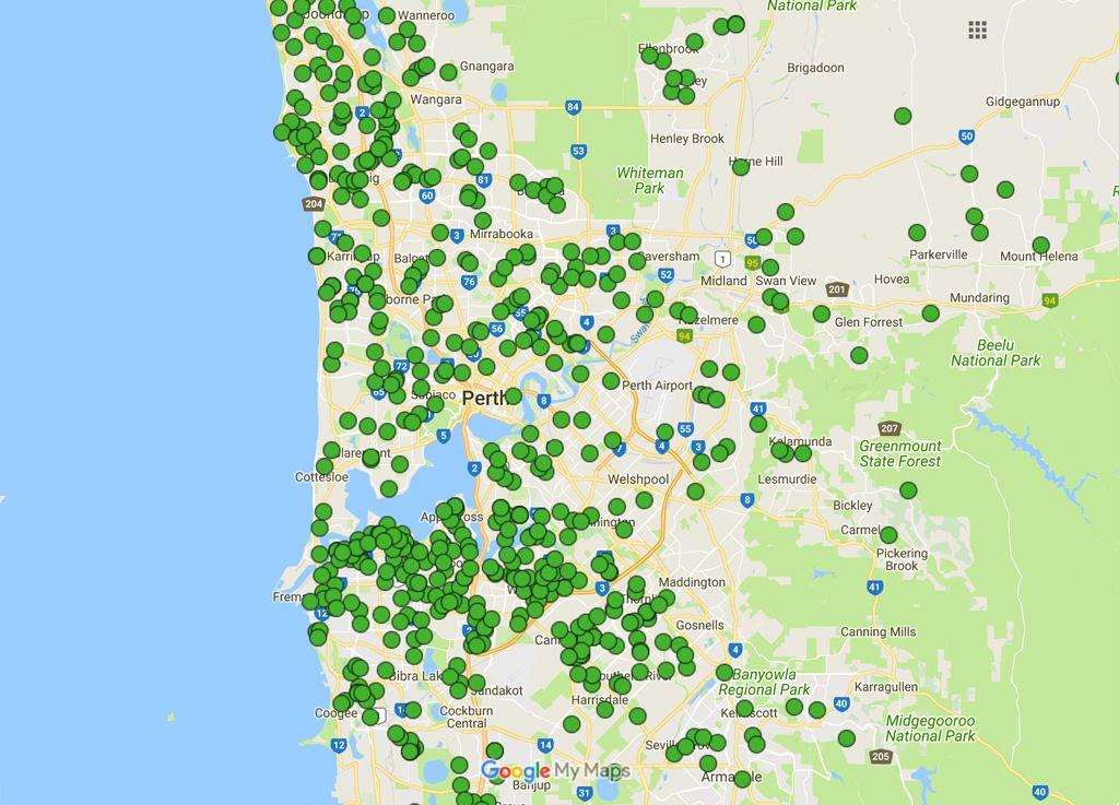 Australis Solar Installations Map – Western Australia